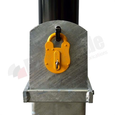 Round removable steel bollard with ground socket product gallery image