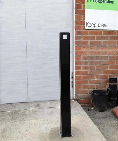 Square removable steel bollard with ground socket product gallery image