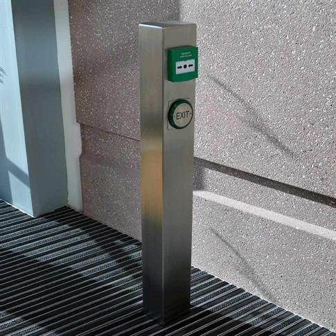 Square stainless steel bollard with push plate product gallery image